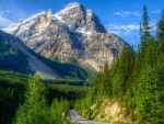 lonley highway through yoho np in canada hdr