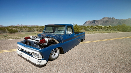 Twin Turbo LS Powered 1964 GMC Pickup - Turbo, 1964, Slammed, Blue