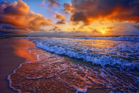 ♥Sunset Beach♥ - ocean, beach, sand, sunset, sea, shore