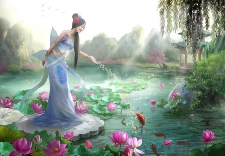 Magical... - pond, fishes, leaves, lotus, girl, smiling, pink, blue