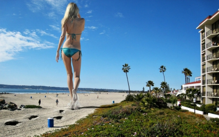 Giantess At The Beach Models Female People Background Wallpapers