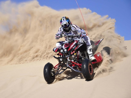 Playing In Sand - quad, sand, honda, motorcycle