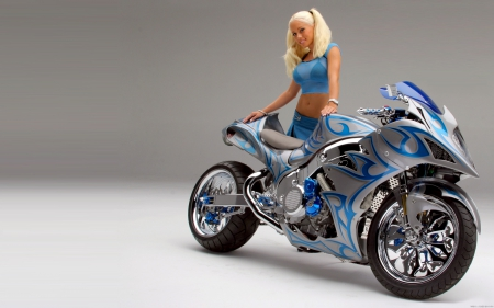 What A Nice Looking Pair - bike, model, chick, motorcycle