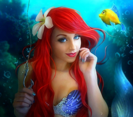 ~Mermaid with the Hook~ - colorful, redhead, softness beauty, hook, digital art, hair, fantasy, beautiful girls, photomanipulation, flowers in their hair, girls, underwater, models, colors, love four seasons, mermaid, creative pre-made, lips, cool, weird things people wear, summer, lady, eyes