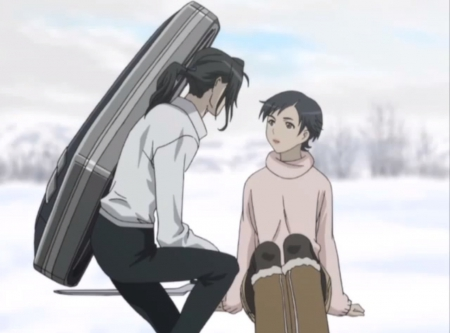 Saya ♡ Haji - hagi, pretty, saya, otonashi saya, beautiful, sweet, nice, anime, otonashi, beauty, anime girl, long hair, couple, black hair, haji, blood plus, female, lovely, saya otonashi, anime couple, winter, short hair, girl, snow, bloodplus, white, scene