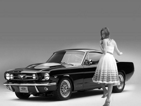 Classic Mustang In Black And White Girls And Cars Cars