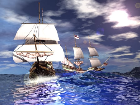 Tall ship on the High seas - pretty water, sail, ocean, water, boat