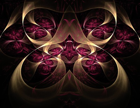 The Road Less Travelled - curls, laurengary, apophysis, abstract, raspberry, gold, roadlesstravelled, swirls, fractal