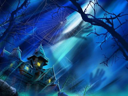 Halloween is coming - house, spiderwebs, eve, fantasy, spooky, darkness, shadows, treat, blue, trick, haunted house, storms, haunted, silouettes, trees, night time, ghosts, occasion