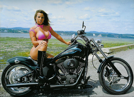 Sexy girl on a harley