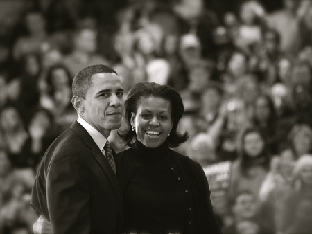 Obama and the first lady - president obama, nobel, black and white, barack obama, president, peace, obama, politique skz, usa, nobel prize, popular