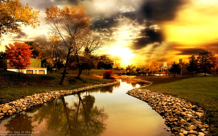 Autumn Day in the Park - photo, rocks, autumn, sky, seasons, clouds, nature, river, landscape