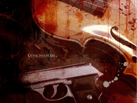 Deadly Violin - gun, gunslinger girl, pistol, violin, anime