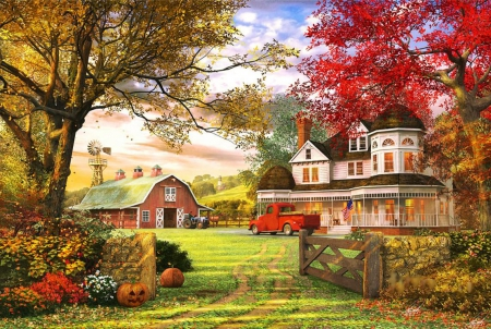 Old Pumpkin Farm - gate, house, car, trees, artwork, barn, pumpkins