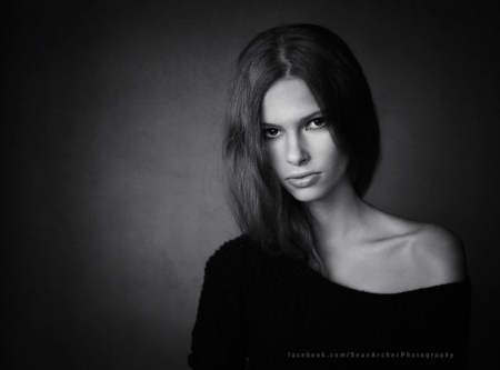 Maya - model, black and white, face, portrait, woman, two colors