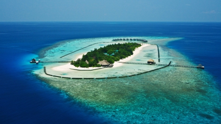 magnificent resort on a tropical atoll - island, sea, coral reef, trees, resort, atoll