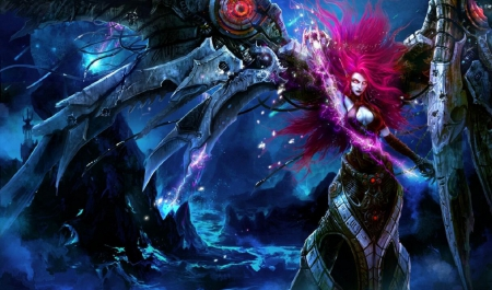 Morgana - Villain, Video Game, Female, League of Legends, Dark, Evil, Long hair, Terror, Morgana, Girl, Woman