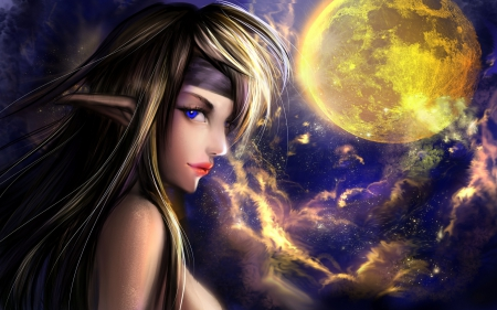 Under the Moonlight - artistic, moons, pretty, female, draw and paint, lovely, colors, love four seasons, creative pre-made, paintings, beautiful girls, 3D and CG, weird things people wear, girls