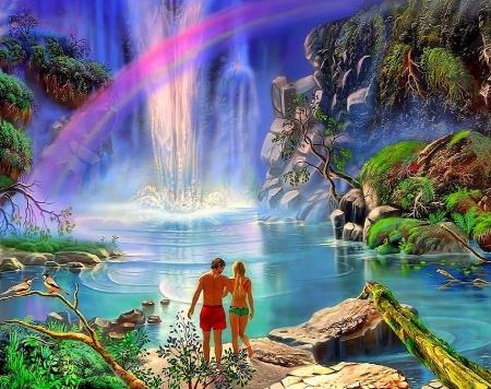 Rainbow over waterfall rainbows nature background - Nature ke wallpaper ...