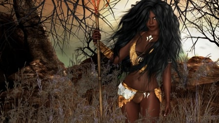 Nia - cg, woman, sexy, africa, savage, fantasy, 3d, tribal, tribe, jungle, african american, lady