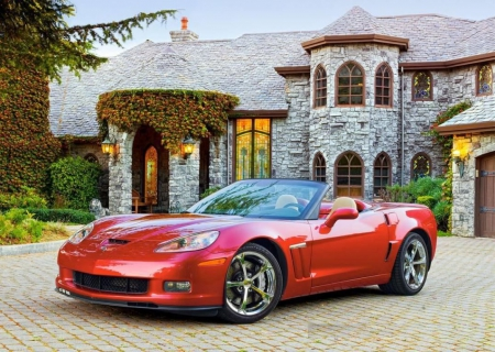 Chevrolet Corvette GS Convertible - sports car, evening, house, light