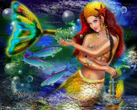 Yellow Mermaid - anchor, redhead, star fishes, softness beauty, beautiful, digital art, yellow mermaid, fantasy, beautiful girls, photomanipulation, bubbles, girls, female, models, fishes, lovely, colors, love four seasons, creative pre-made, coral, weird things people wear, backgrounds