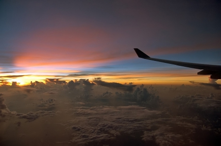 Above the clouds - plane, clouds, above, sunset