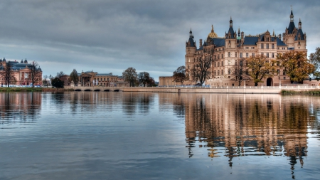 splendid german castle reflected in a lake - town, reflection, overcast, castle, lake