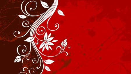 Floral Grunge Leaf - Red - red, grunge, graphics, vector, floral, leaf