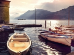 boat piers on an italian lake