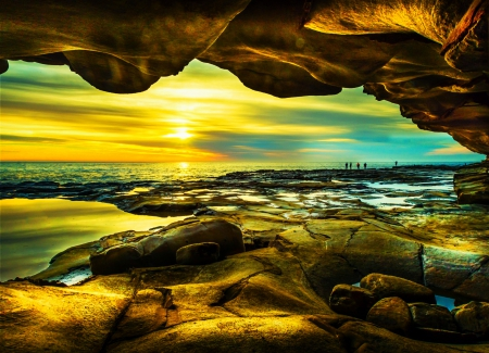 Sunrise Beach - rocks, beautiful, sky, clouds, cave, sea, beach, sunrise, Australia, fishing