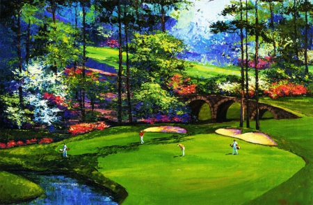 Playing Golf - players, river, park, trees, artwork