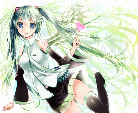 ~Angel Miku~ - vocaloid, ponytails, wings, hatsune miku, anime, angel, skirt, tie