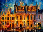 Painting of a building in Bruges, Belgium
