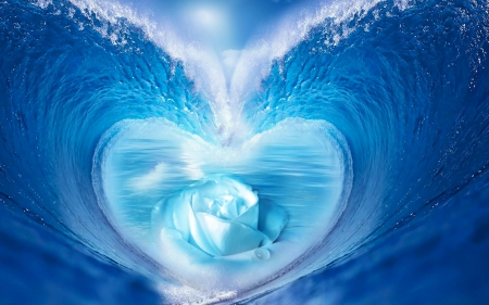 Deep in the heart...♡ - blue sea, waves, roses, ocean waves, blue rose, sea, water, blue water, heart, summer, summer heart