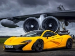 yellow mclaren p1 in an old airport hdr