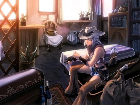 Bunkhouse Cowgirl - female, westerns, hats, boots, fun, beds, women, bunkhouse, anime, cowgirls, girls, style
