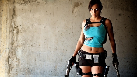 tomb raider - weapons, beauty, cosplay, short