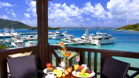 breakfast at virgin island marina - marina, boats, view, breakfast, clouds, harbor