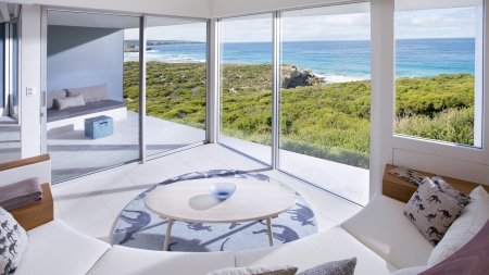fabulous seaside view from living room - glass, view, living room, seaside, doors