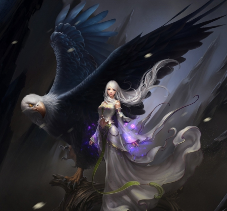 Her Protector - protector, look, fantasy, wings, sorceress, eagle