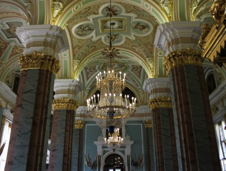 Winter Palace Ceilings - architecture, palaces, columns, glitter, petersburg, opulence, Winter Palace, marble, photography, gold, russia