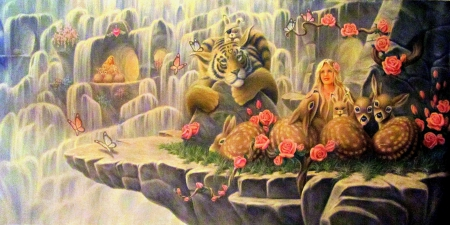 ★Pretend of Heaven★ - splendid, tigers, attractions in dreams, beautiful, deer, fantasy, paintings, cherish, heaven, rabbits, flowers, girls, butterfly designs, traditional art, animals, lovely, pretend, birds, creative pre-made, butterflies, roses, waterfalls, weird things people wear