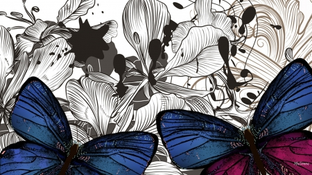 Bright Butterfly Blues - art, bright, summer, flowers, spring, butterflies, abstract, vector