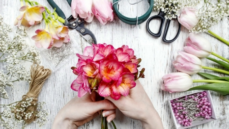 ✿ flowers  and accessories✿ - table, wallpaper, flowers, scissors, tulips, clippers