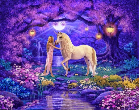 Unicorn in Fairyland - pond, lanterns, flowers, blossoms, trees, artwork, fairy