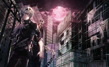 Evil city! - scrary, white hair, game, clouds, horror, lights, dakr, anime, scary, chain, wings, red light, smiley, city at night, black, building, cool, awesome, white, red eyes, red, ghoul, cloths, evil, anime boy, ken, moon, city, awesoem, darkness, light, night, male, manga, kaneki ken, smile, short hait, blood, tokyo ghoul, red moon, monster, mask