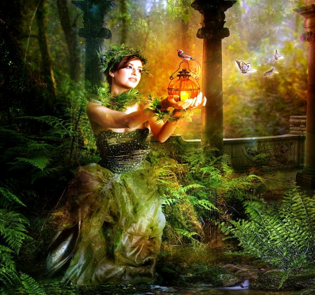 ~Enchanted Fern~ - softness beauty, digital art, fantasy, beautiful girls, green, ferns, photomanipulation, flowers, girls, butterfly designs, enchanted, models, lovely, colors, love four seasons, birds, creative pre-made, cage, weird things people wear, lady