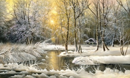 Snow - river, white, trees, snow