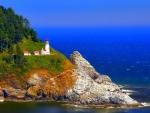 lighthouse on a coastal cliff